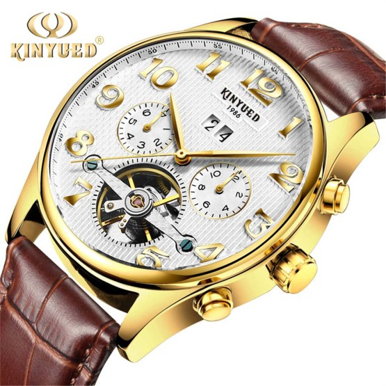 clock Kinyued Skeleton Tourbillon Mechanical Watch Automatic Men