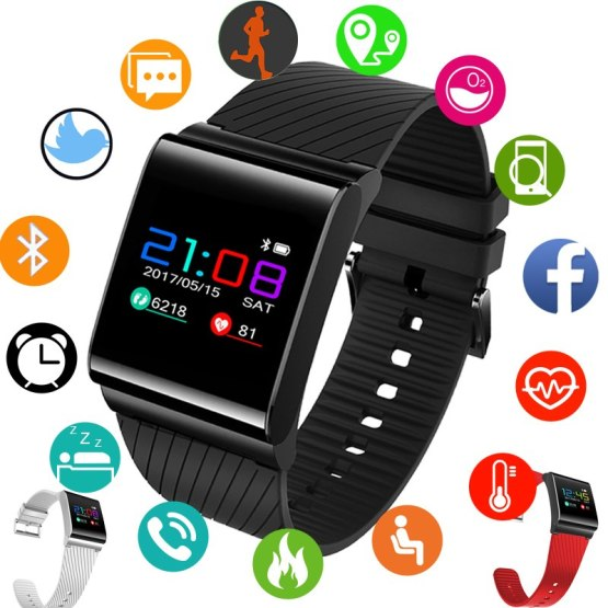 Bluetooth Smart Watch Men Fitness Tracker Heart Rate Detection Color Screen