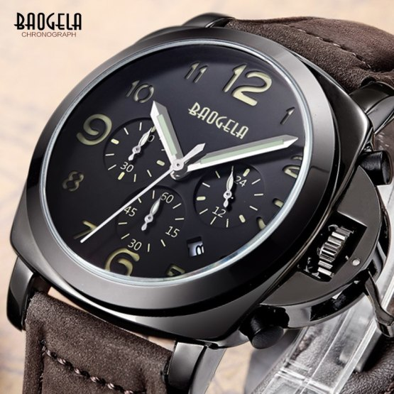 Baogela Mens Brown Leather Strap Chronograph Luminous 24 Hours Date Watches