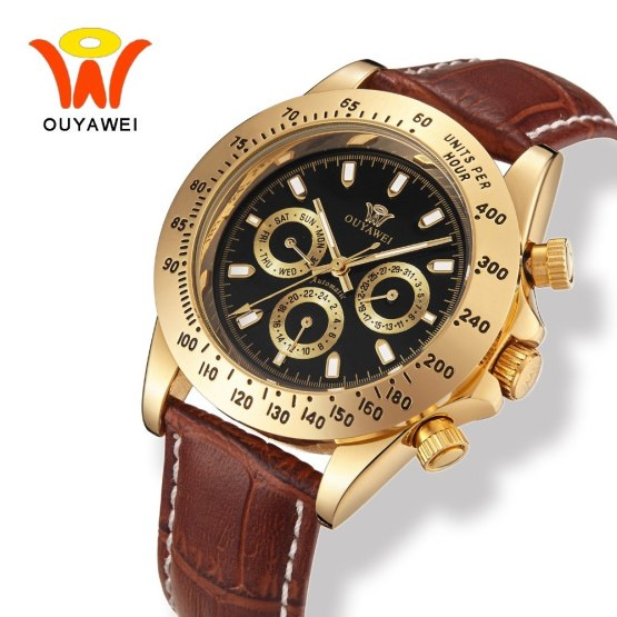 Male Leather Luxury Gold Automatic Watch Men With Auto Date