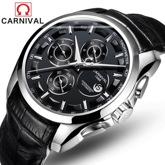 CARNIVAL Top Brand Luxury Fashion Leather Men Watch Casual Business Style