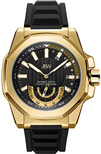 JBW Luxury Men's Delmare Diamond Wrist Watch with Slip-Resistant Silicone Bracelet