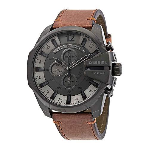 Diesel Men's Mega Chief Stainless Steel Japanese-Quartz Watch with Leather Calfskin Strap, Brown, 26 (Model: DZ4463)