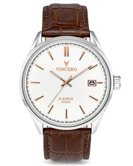 Vincero The Kairos Dial Leather Strap Men's Watch WHI-SIL-K08
