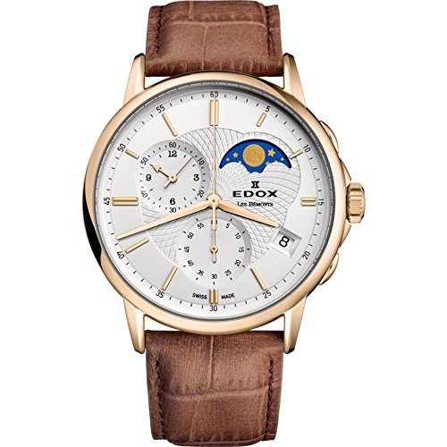 Edox Men's Les Bemonts Stainless Steel Swiss-Quartz Watch with Leather Strap, Brown, 22 (Model: 01651 37J AID)