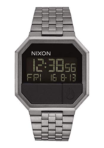 NIXON Re-Run A158 - All Gunmetal - 30m Water Resistant Men's Digital Fashion Watch (38.5mm Watch Face, 18mm-13mm Stainless Steel Band)