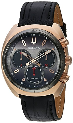 Bulova Men's Curv Collection Stainless Steel Analog-Quartz Watch with Leather-Alligator Strap, Black, 22 (Model: 98A156)