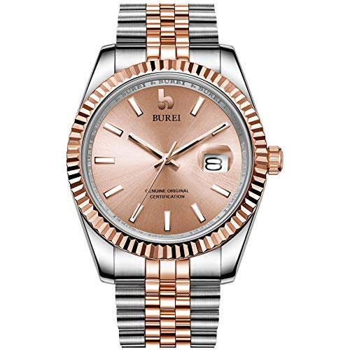 BUREI Men's Mechanical Watch Fashion Sapphire Lens Magnify Display Simulated Date (Sandy Brown)