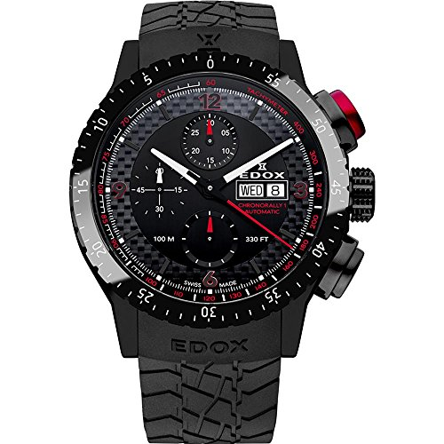 Edox Men's 01118 37NR NRO Chronorally 1 Analog Display Swiss Automatic Black Watch