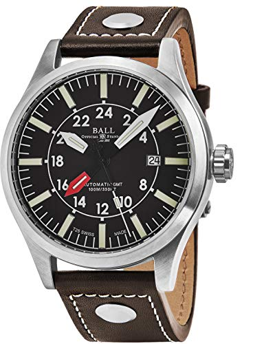 Ball Men's GM1086C-LJ-BR 'Engineer Master II Aviator' Brown Dial Brown Leather Strap GMT Swiss Automatic Watch