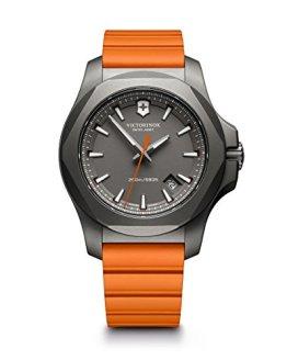Victorinox Swiss Army Men's I.N.O.X. Titanium Swiss-Quartz Watch with Rubber Strap, Orange, 21 (Model: 241758)