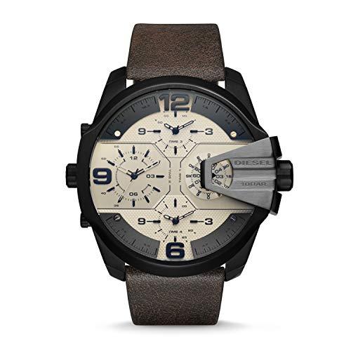 Diesel Men's DZ7391 Uber Chief Black Ip Brown Leather Watch