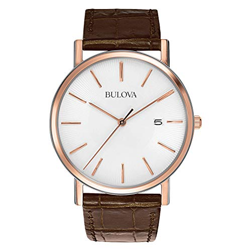 Bulova Men's 98H51 Stainless Steel Dress Watch With Croco Leather Band