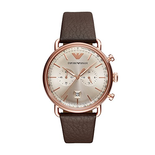 Emporio Armani Men's Dress Stainless Steel Quartz Watch with Leather Calfskin Strap, Brown, 22 (Model: AR11106)