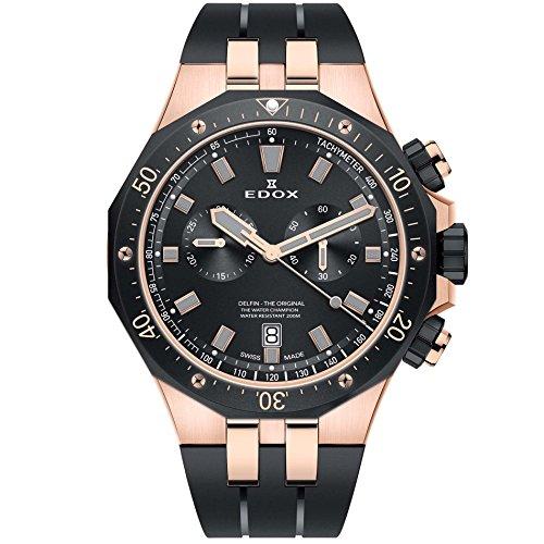 Edox Men's Delfin Quartz Watch with Stainless-Steel Strap, Brown, 24 (Model: 10109 357RNCA NIRG)