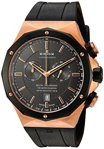 Edox Men's 10107 37RNC GIR Delfin Analog Display Swiss Quartz Black Watch