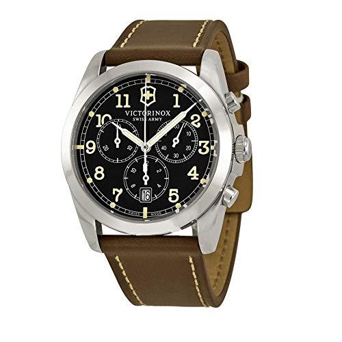 Victorinox Infantry Chronograph Black Dial Leather Strap Mens Watch 241567XG (Renewed)