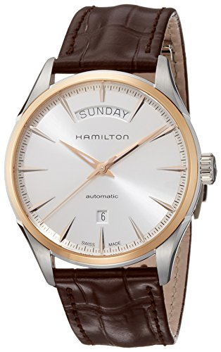 Hamilton Men's Jazzmaster Gold Swiss-Automatic Watch with Leather Calfskin Strap, Brown, 22 (Model: H42525551)