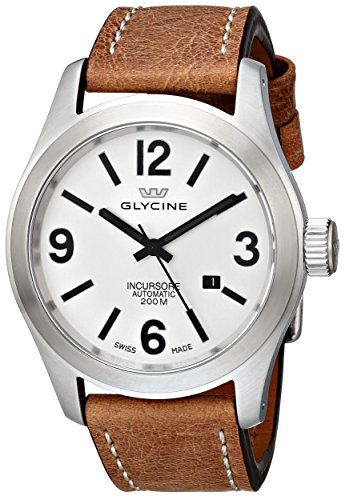 """Glycine Men's 3874-11-LB7BH """"Incursore"""" Stainless Steel Automatic Watch with Brown Leather Band"""