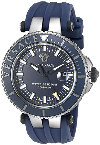 Versace Men's 'V-Race' Swiss Quartz Stainless Steel and Silicone Casual Watch, Color:Blue (Model: VAK020016)