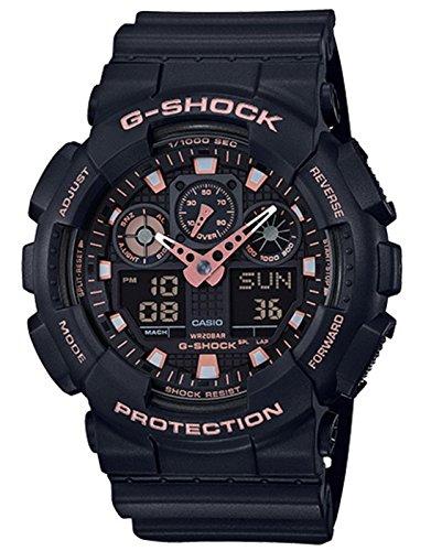 Casio G-Shock Black Rose Gold Analog Digital Watch GA100GBX-1A4
