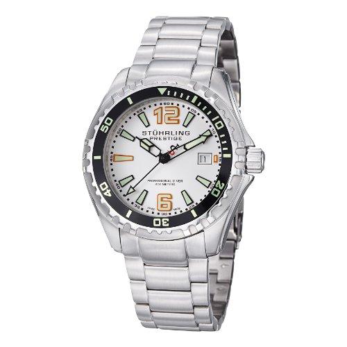 Stuhrling Original Men's 382.33112 Prestige Swiss Regatta Captain Quartz Diver Date Silver Dial Watch