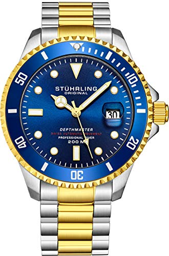 """Mens Swiss Automatic Stainless Steel Professional""""DEPTHMASTER"""" Blue Dial Dive Watch, 200 Meters Water Resistant, Brushed and Beveled Bracelet with Divers Safety Clasp, Screw Down Crown"""