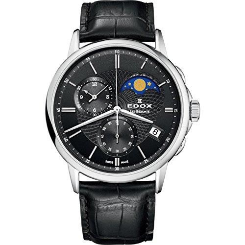 Edox Men's Les Bemonts Stainless Steel Swiss-Quartz Watch with Leather Strap, Black, 22 (Model: 01651 3 NIN)