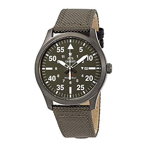 Orient Flight Green Dial Green Canvas Mens Watch FUNG2004F