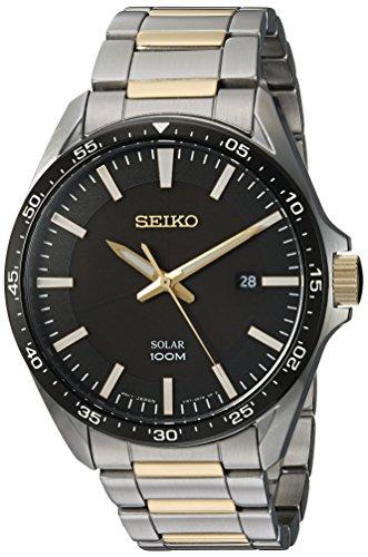 Seiko Men's Sport Watches Japanese-Quartz Stainless-Steel Strap, Silver, 19 (Model: SNE485)