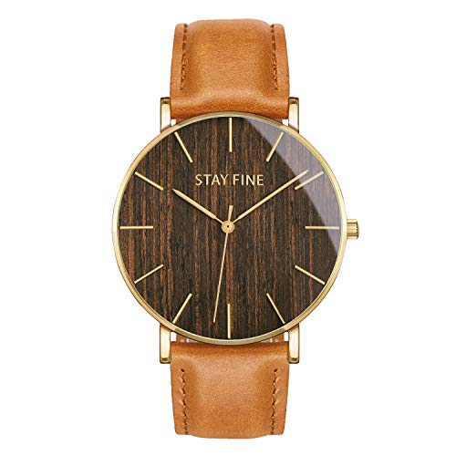 STAY FINE Wood Watches for Men | Minimalist Wooden Watch Mens | with Italian Leather Band & Japanese Movement