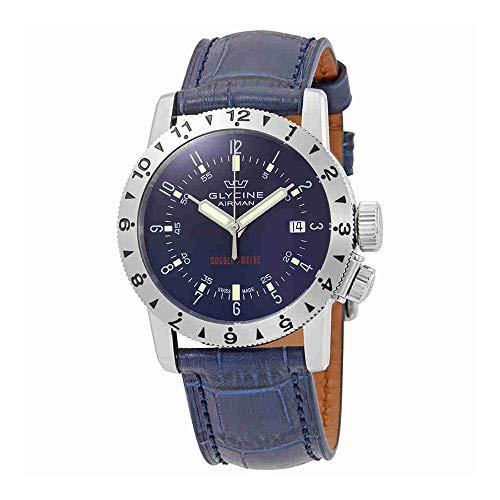Glycine Airman Double Twelve Automatic Blue Dial Mens Watch GL0235
