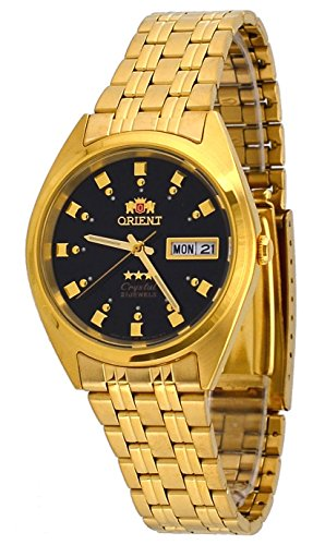 Orient #FAB00001B Men's 3 Star Standard Gold Tone Black Dial Automatic Watch