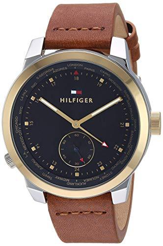 Tommy Hilfiger Men's Quartz Watch with Leather Calfskin Strap, Brown, 20 (Model: 1791553)