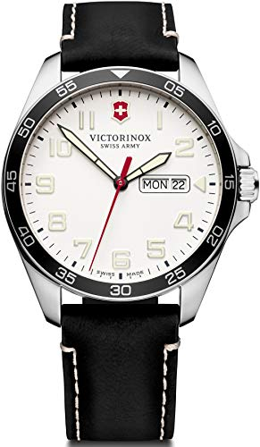 Victorinox Men's Fieldforce Stainless Steel Analog Quartz Watch with Leather Strap, Black, 21 (Model: 241847)