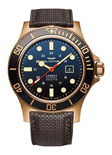 Glycine Combat Mens Analog Swiss Automatic Watch with Leather Bracelet GL0200