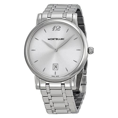 Montblanc Star Classique Date Mens Stainless Steel Designer Luxury Watch - 39mm Analog Silver Face Sapphire Crystal Swiss Made Silver Watch - Metal Band Slim Quartz Dress Watches for Men 108768