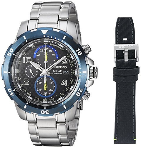 Seiko Men's Chronograph Japanese-Quartz Watch with Stainless-Steel Strap, Silver, 20 (Model: SSC637)