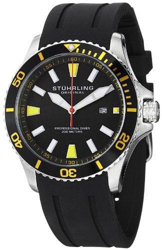 Stuhrling Original Men's 706.04 Aquadiver Regatta Quartz Date Yellow Accent Rubber Strap Diver Watch