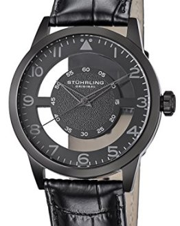 Stuhrling Original Men's 650.04 Aviator Quartz Transparent Dial Leather-Strap Black Watch