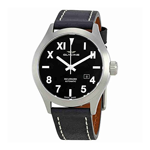 Glycine Incursore Automatic Black Dial Mens Leather Watch GL0043
