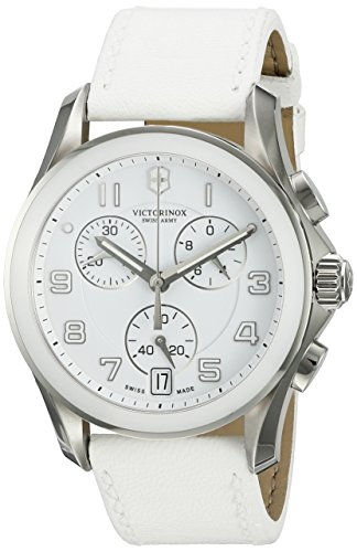 Victorinox Swiss Army 241500 Chrono Classic Watch with White Dial and White Leather Strap