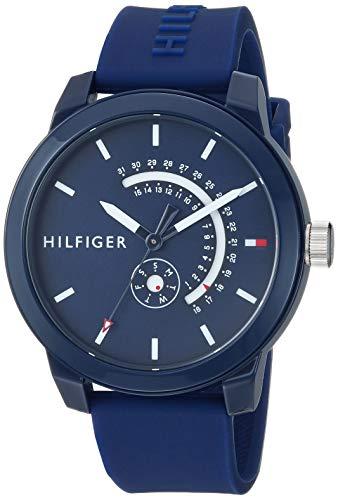 Tommy Hilfiger Men's Quartz Watch with Silicone Strap, Blue, 18.6 (Model: 1791482)