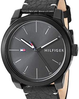 Tommy Hilfiger Men's Quartz Watch with Leather Calfskin Strap, Black, 19.5 (Model: 1791384)