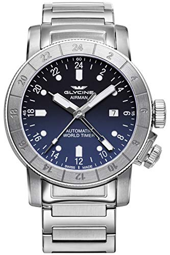 Glycine Airman Mens Analog Swiss Automatic Watch with Stainless Steel Bracelet GL0156