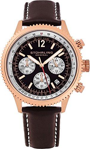 Stuhrling Original Men's 669.04 Analog Monaco Quartz Chronograph Date 16K Rose Gold Plated Brown Genuine Leather Strap Watch