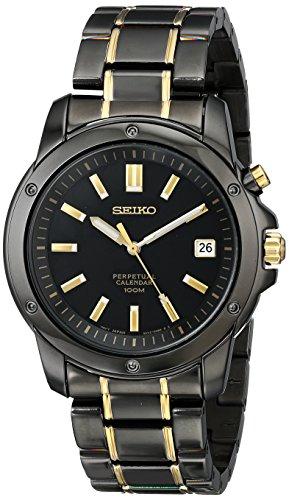 Seiko Men's SNQ045 Perpetual Calendar Black Ion Dress Watch