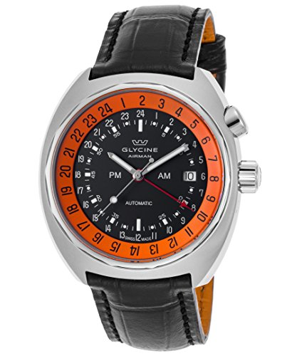 Glycine 3903-196-Lbk9 Men's Airmen Sst-12 Automatic Gmt Black Genuine Leather And Dial Watch