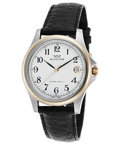 Glycine 3519-34-Lb9 Men's Black Genuine Leather White Dial Gold-Tone Bezel Watch