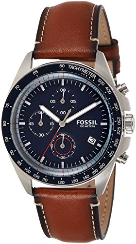 Fossil Men's Quartz Stainless Steel and Leather Casual Watch, Color:Brown (Model: CH3039)